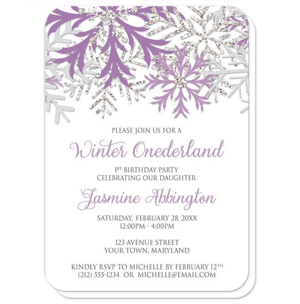 Winter Onederland Invitations - Purple Silver Snowflake 1st Birthday - rounded corners