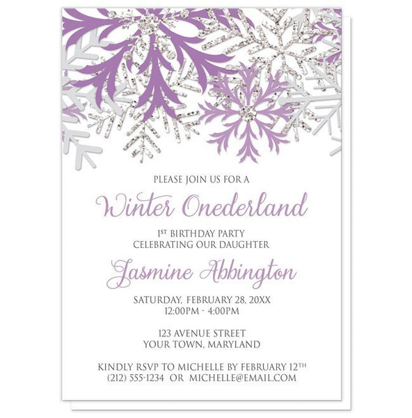Winter Onederland Invitations - Purple Silver Snowflake 1st Birthday Winter Onederland Invitations at Artistically Invited