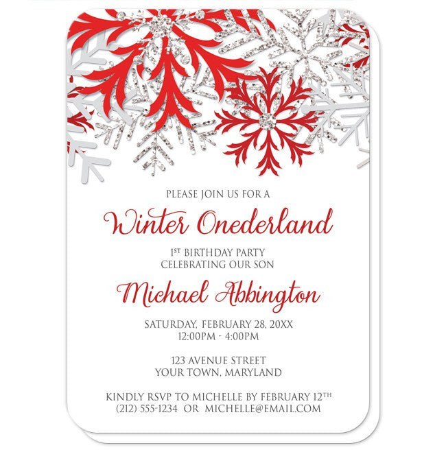 Red Silver Snowflake 1st Birthday Winter Onederland Invitations at  Artistically Invited