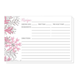 Winter Pink Silver Snowflake Recipe Cards