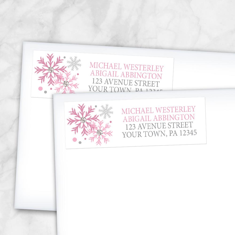 Winter Pink Silver Snowflake Address Labels at Artistically Invited
