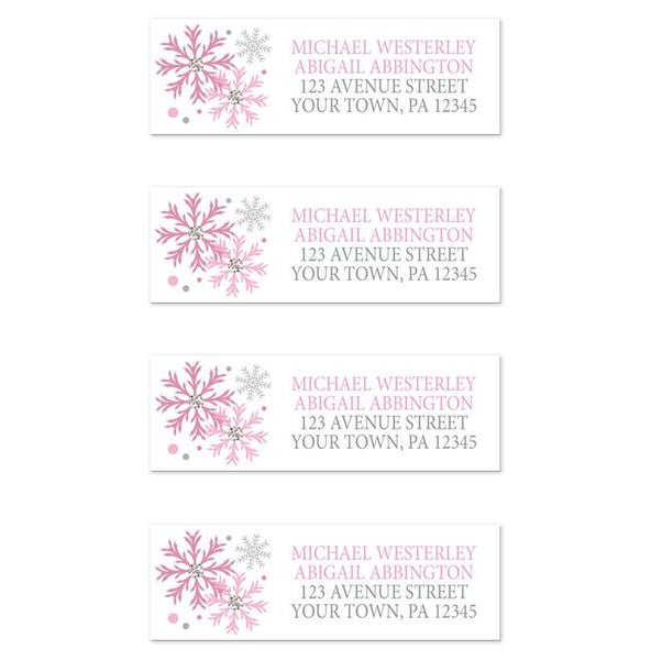 Winter Pink Silver Snowflake Address Labels