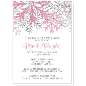 Winter pink silver snowflake baby shower invitations online at winter pink silver snowflake baby shower invitations at artistically invited filmwisefo