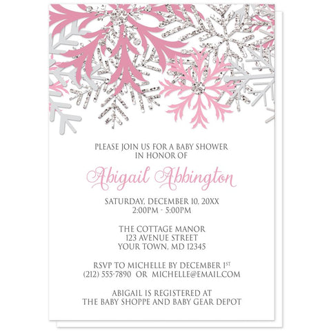 Snowflake Baby Shower Invitations - Winter Pink Silver Snowflake Baby Shower Invitations at Artistically Invited