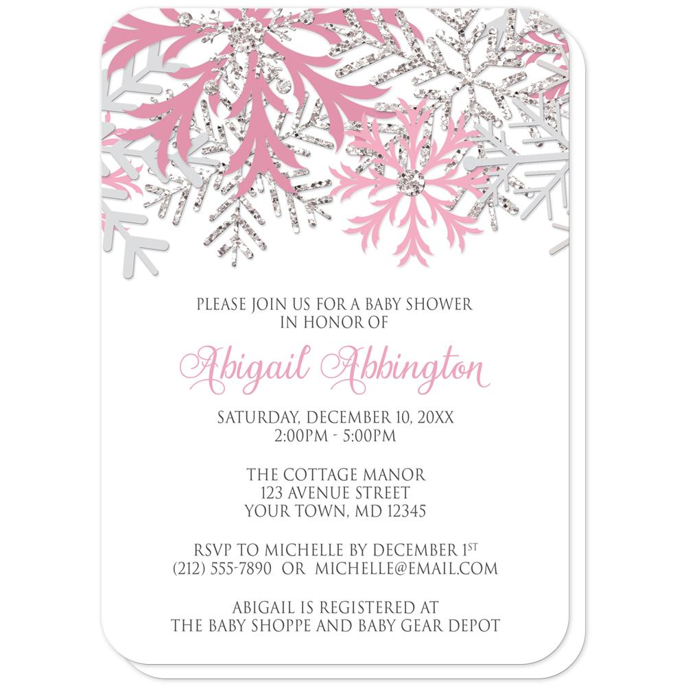Winter Pink Silver Snowflake Baby Shower Invitations