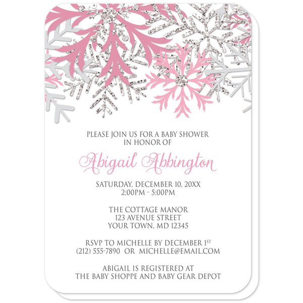 Winter Pink Silver Snowflake Baby Shower Invitations (rounded corners) at Artistically Invited
