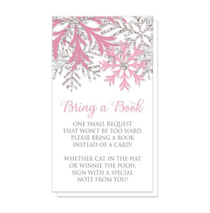 "Winter Pink Silver Snowflake ""Bring a Book"" Cards"