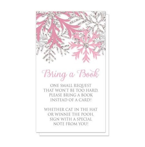 Winter Pink Silver Snowflake Bring a Book Cards at Artistically Invited