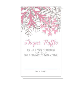 Winter Pink Silver Snowflake Diaper Raffle Cards