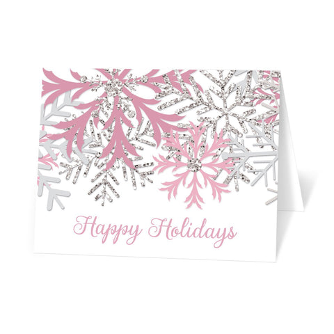 Winter Pink Silver Snowflake Holiday Cards at Artistically Invited