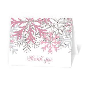 Winter Pink Silver Snowflake Thank You Cards at Artistically Invited