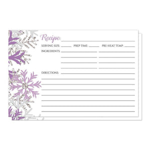 Winter Purple Silver Snowflake Recipe Cards at Artistically Invited