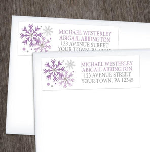 Winter Purple Silver Snowflake Address Labels at Artistically Invited
