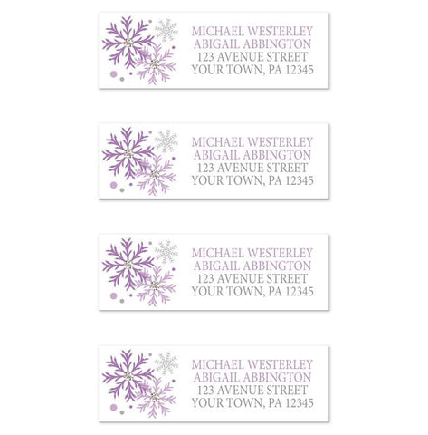 Winter Purple Silver Snowflake Address Labels