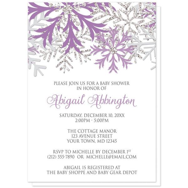 Winter Purple Silver Snowflake Baby Shower Invitations at Artistically Invited