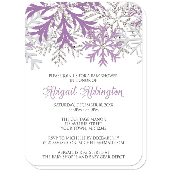 Winter Purple Silver Snowflake Baby Shower Invitations (rounded corners) at Artistically Invited
