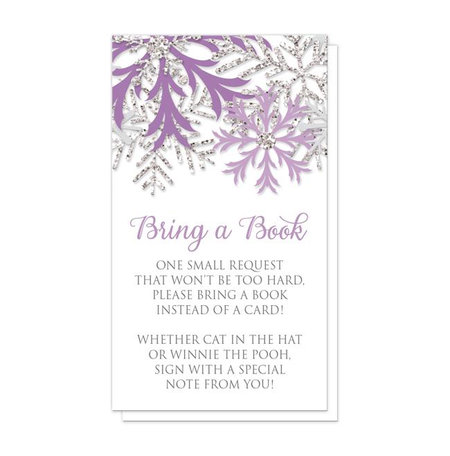 "Winter Purple Silver Snowflake ""Bring a Book"" Cards"