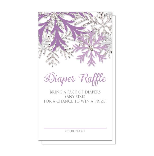 Winter Purple Silver Snowflake Diaper Raffle Cards