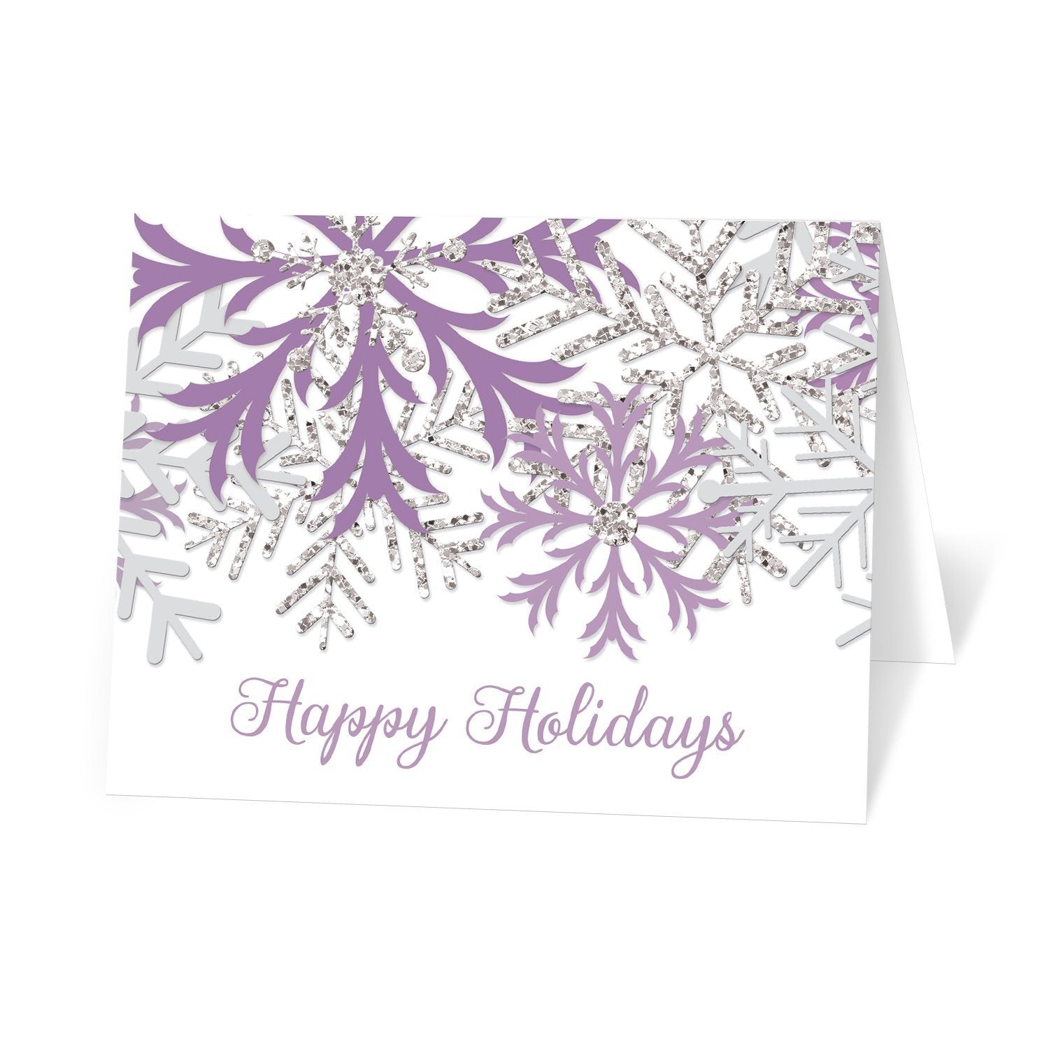 Winter Purple Silver Snowflake Holiday Cards at Artistically Invited