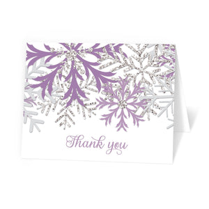 Winter Purple Silver Snowflake Thank You Cards at Artistically Invited