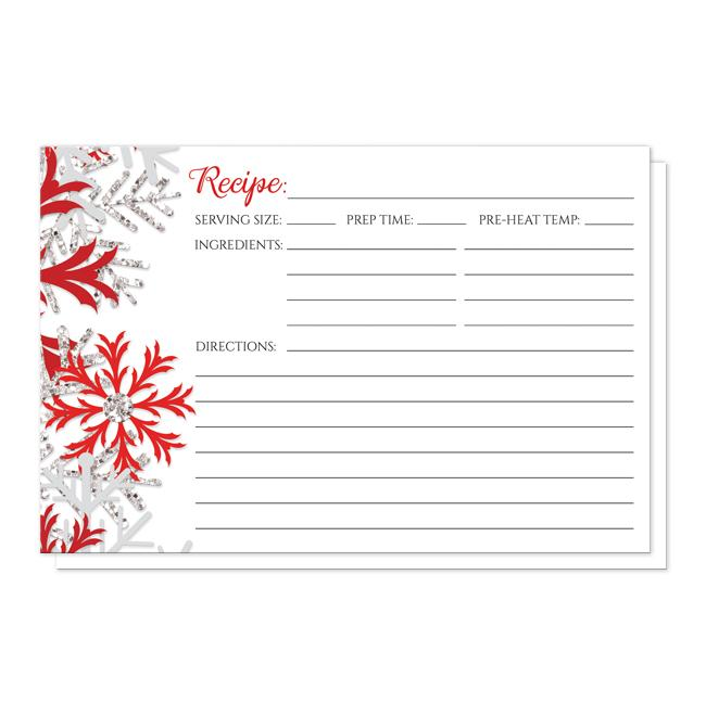 Winter Red Silver Snowflake Recipe Cards
