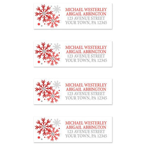 Winter Red Silver Snowflake Address Labels at Artistically Invited