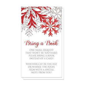 Winter Red Silver Snowflake Bring a Book Cards at Artistically Invited