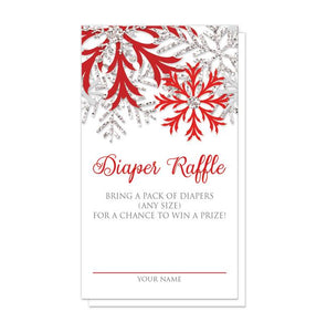Winter Red Silver Snowflake Diaper Raffle Cards