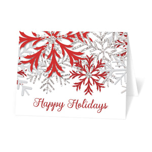Winter Red Silver Snowflake Holiday Cards at Artistically Invited