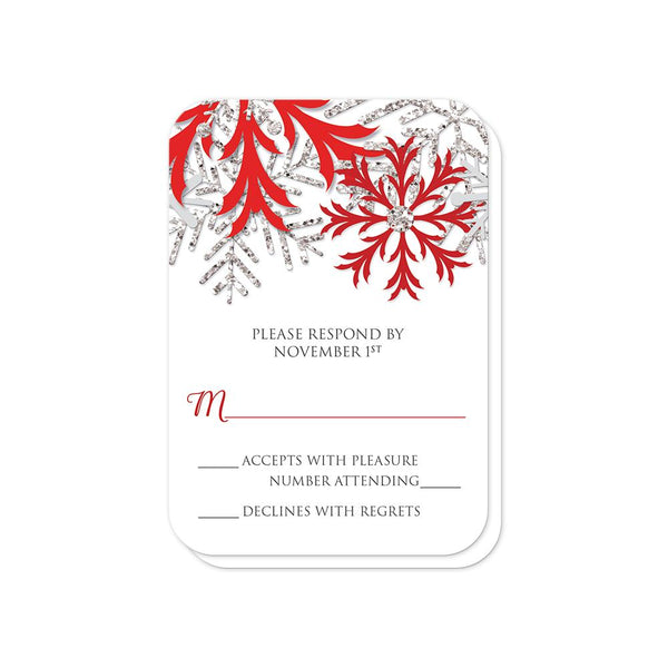Winter Red Silver Snowflake RSVP cards (rounded corners) at Artistically Invited