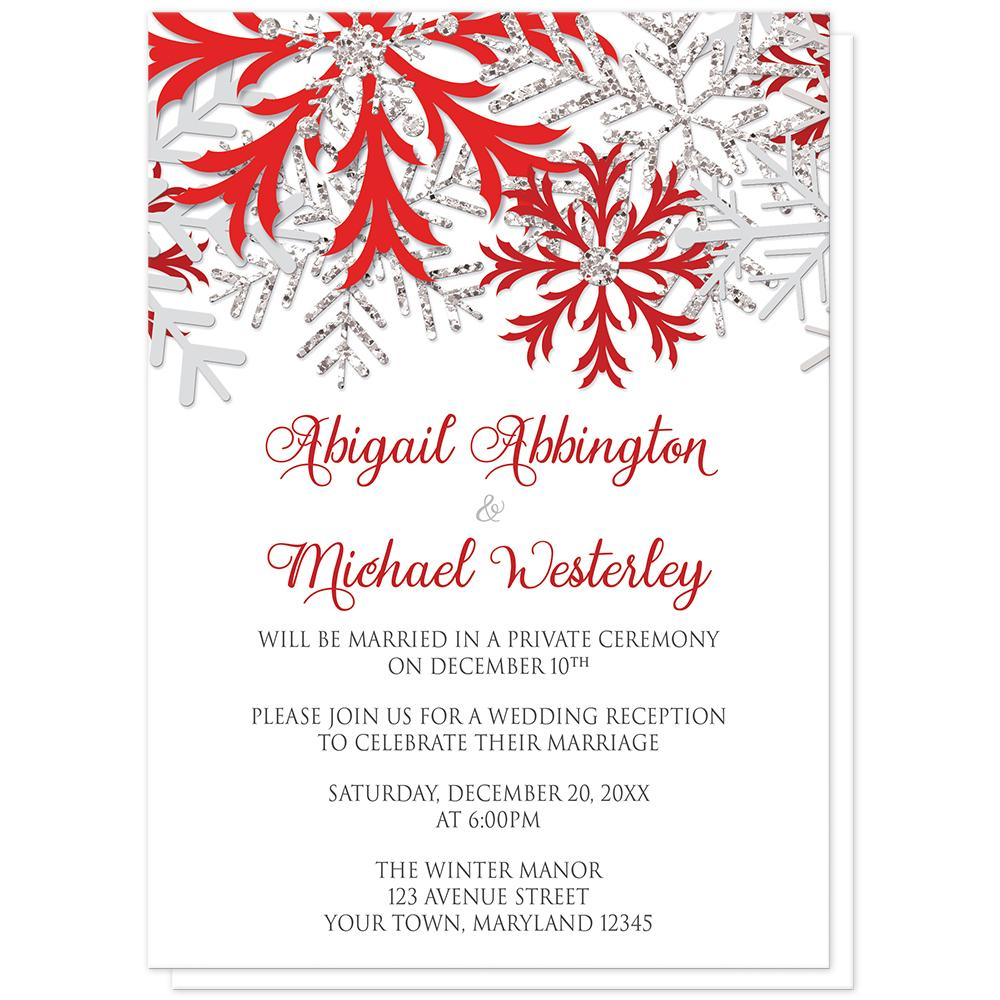 Winter Red Silver Snowflake Reception Only Invitations at Artistically Invited