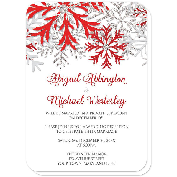 Winter Red Silver Snowflake Reception Only Invitations (rounded corners) at Artistically Invited