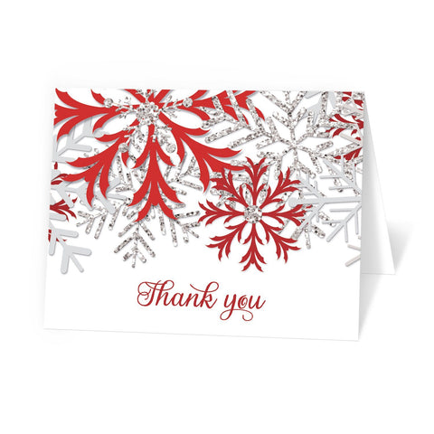Winter Red Silver Snowflake Thank You Cards at Artistically Invited