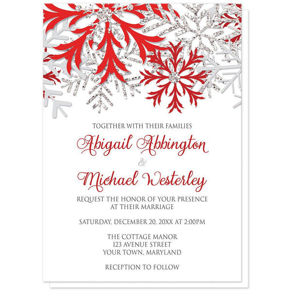 Winter Red Silver Snowflake Wedding Invitations at Artistically Invited