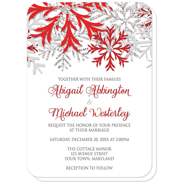Winter Red Silver Snowflake Wedding Invitations (rounded corners) at Artistically Invited
