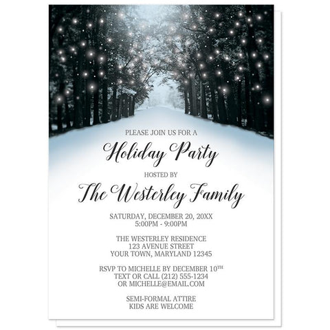 Snowy Winter Road Tree Lights Holiday Party Invitations at Artistically Invited