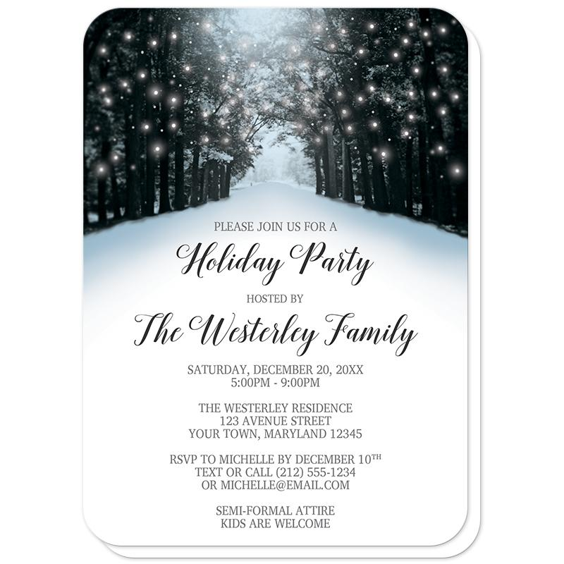 Snowy Winter Road Tree Lights Holiday Party Invitations