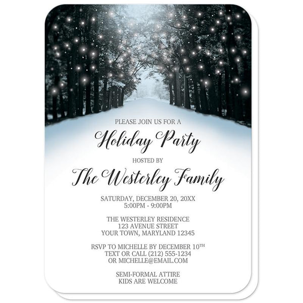 Snowy Winter Road Tree Lights Holiday Party Invitations (rounded corners) at Artistically Invited