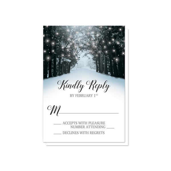 Snowy Winter Road Tree Lights Reception RSVP cards at Artistically Invited