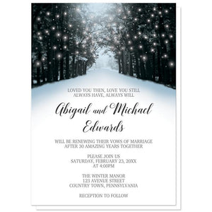 Winter Vow Renewal Invitations - Snowy Winter Road Tree Lights (Winter Wonderland) at Artistically Invited