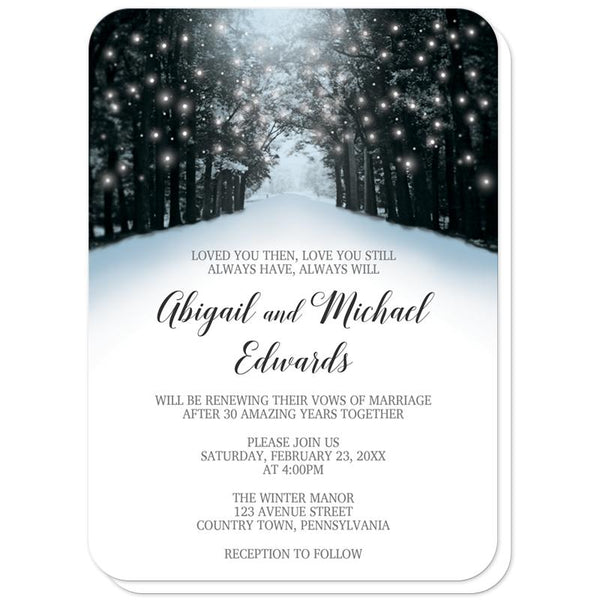 Snowy Winter Road Tree Lights Vow Renewal Invitations (rounded corners) at Artistically Invited