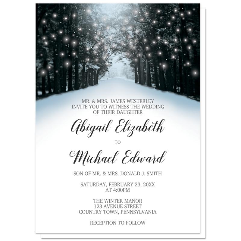 Christmas Wedding Invitations.Winter Wedding Invitations Snowy Winter Road Tree Lights