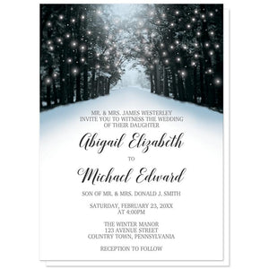 Winter Wedding Invitations - Snowy Winter Road Tree Lights Wedding Invitations (Winter Wonderland) at Artistically Invited