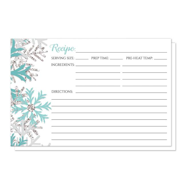 Winter Teal Silver Snowflake Recipe Cards