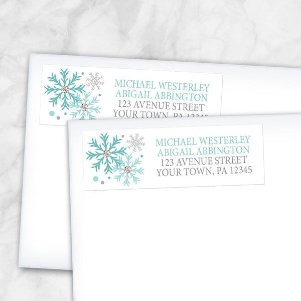 Winter Teal Silver Snowflake Address Labels at Artistically Invited