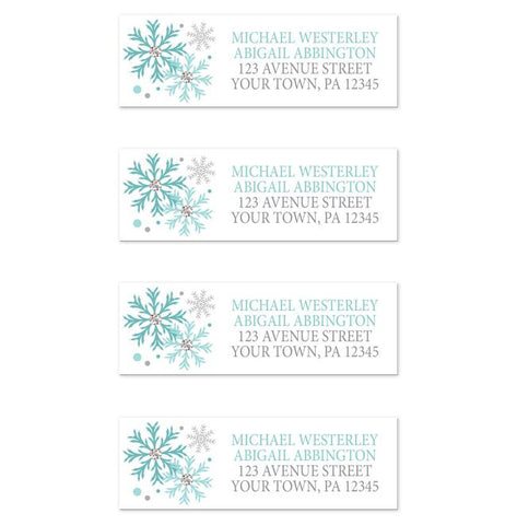 Winter Teal Silver Snowflake Address Labels