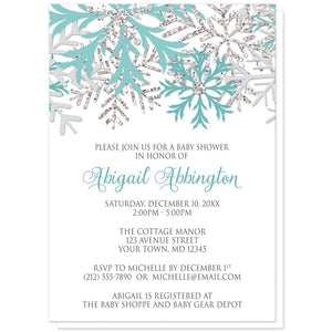 Winter Teal Silver Snowflake Baby Shower Invitations at Artistically Invited