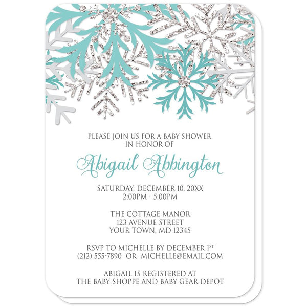 Winter Teal Silver Snowflake Baby Shower Invitations (rounded corners) at Artistically Invited