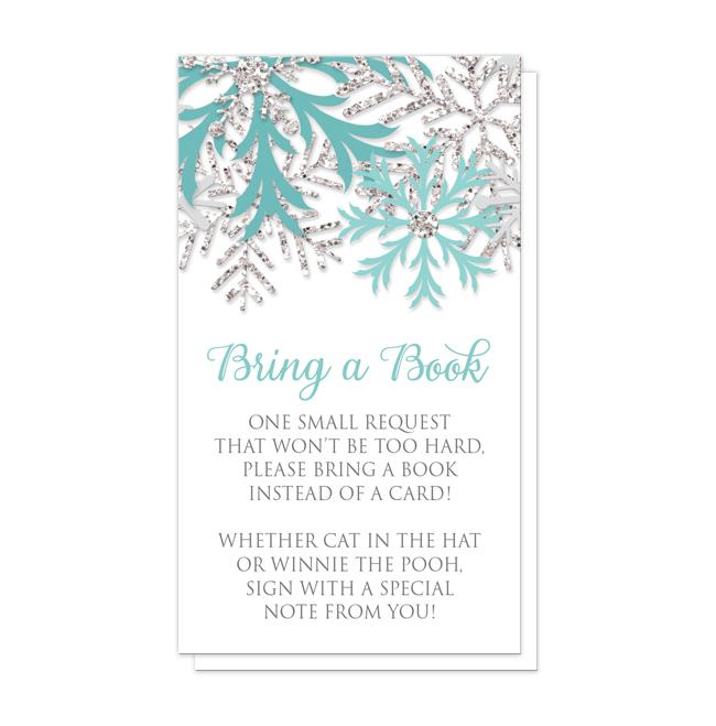 Winter Teal Silver Snowflake Bring a Book Cards at Artistically Invited