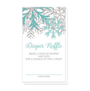 Winter Teal Silver Snowflake Diaper Raffle Cards